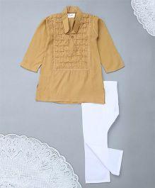 M'Andy Chickenkari Flower Embroidered Kurta Pyjama - Brown