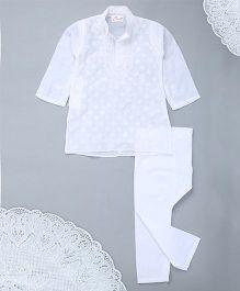 M'Andy Chickenkari Embriodery Kurta Pyjama - White