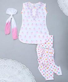 M'Andy Chickenkari Patiala Kurti & Dupatta Set - White & Pink