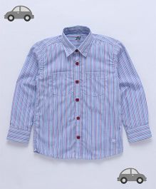 Milonee Stripes Shirt With Patch Pockets - Blue