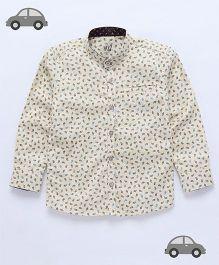 Milonee Paisley Print Mandarin Collar Shirt - Off White