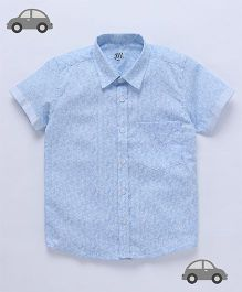 Milonee Abstract Print Shirt - Sky Blue