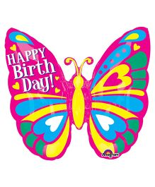 Planet Jashn Butterfly Shape Happy Birthday Balloon - Multicolor