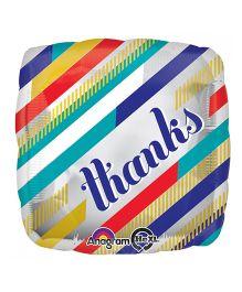 Planet Jashn Square Shape Thanks Balloon Diagonal Stripes - Multicolor