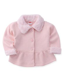 Babyhug Full Sleeves Jacket With Fur Collar And Cuffs - Baby Pink