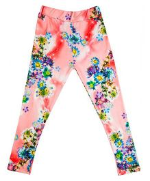 Hunny Bunny Floral Print Jeggings - Coral