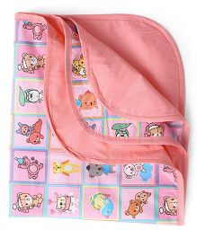 1st Step Bed Protector Teddy & Train Print - Pink Peach