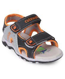 Cute Walk by Babyhug Sandals With Velcro Closure - Grey Black