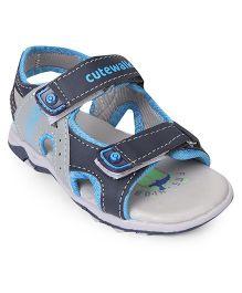 Cute Walk by Babyhug Sandals With Velcro Closure - Grey Blue