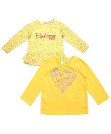 FS Mini Klub Full Sleeves Heart Print Tee Pack Of 2 - Yellow