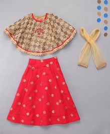 Little Bride Stylish Lehenga Choli With Cape - Copper & Coral Red