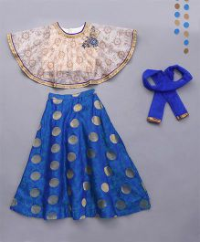 Little Bride Lehenga Choli Set With Cape - Beige & Blue