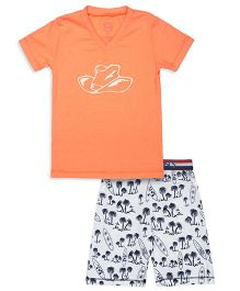 Claesens Short Sleeves T-Shirt And Printed Shorts - Orange White