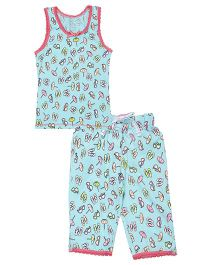 Claesens Sleeveless Capri Night Suit Beach Print - Blue