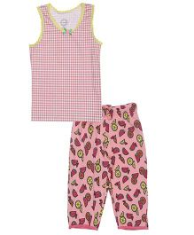 Claesens Sleeveless Capri Night Suit Checks & Watermelon Print - Pink