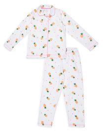 Claesens Full Sleeves Night Suit Pineapple Print - White