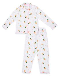 Claesens Full Sleeves Night Suit Pineapple Print - White