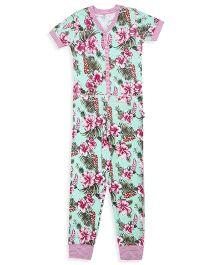 Claesens Half Sleeves Floral Print Sleepsuit - Green Pimk