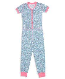 Claesens Half Sleeves Animal Skin Print Sleepsuit - Green Pink Blue