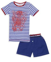 Claesens Half Sleeves Night Wear Stripes T-Shirt And Shorts - Navy White