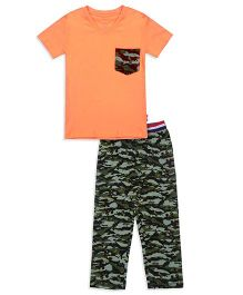 Claesens Half Sleeves T-Shirt And Pajama Camouflage Print - Orange & Green
