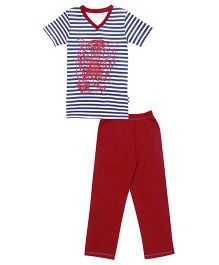 Claesens Half Sleeves T-Shirt And Pajama Stripes & Tiger Print - Blue & Red