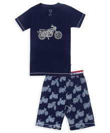 Claesens Half Sleeves Night Wear Bike Print T-Shirt And Shorts - Navy