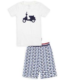 Claesens Half Sleeves Night Wear Scooter Print T-Shirt And Shorts - White Blue