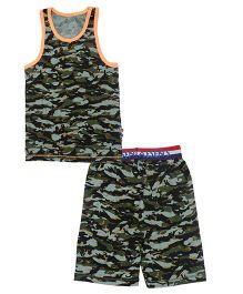 Claesens Sleeveless Night Wear Camouflage Print T-Shirt And Shorts - Green Blue