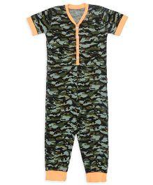 Claesens Half Sleeves Camouflage Print Sleepsuit - Green Blue Orange