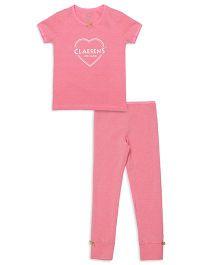 Claesens Short Sleeves Printed Night Suit - Pink