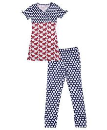 Claesens Short Sleeves Kinono Style Night Suit With Bows And Dots Print - Navy Red White