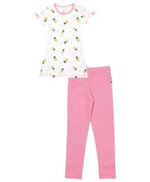 Claesens Short Sleeves Pineapple Print Night Suit - Pink White