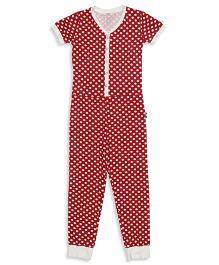 Claesens Half Sleeves Dots Print Sleepsuit - Red