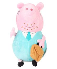 Peppa Pig Daddy Pig Plush Toy Green Pink - Height 30 cm