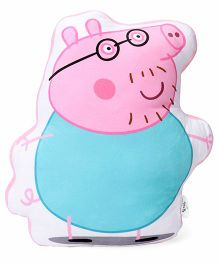 Peppa Pig Daddy Pig Plush Toy Cushion - Pink Blue