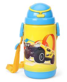 Hot Wheels Printed Sipper Water Bottle Yellow - 360 ml