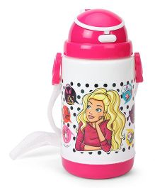 Barbie Printed Sipper Water Bottle White Pink - 360 ml