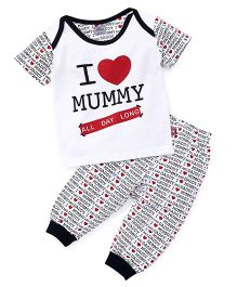 Mini Taurus Half Sleeves Printed T-Shirt And Bottoms Set Mummy Print - Blue White