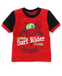 Taeko Half Sleeves T-Shirt Surf Rider Print - Red Black