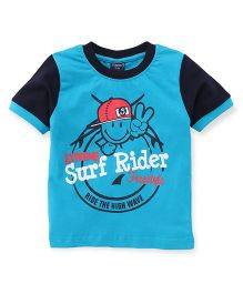 Taeko Half Sleeves T-Shirt Surf Rider Print - Blue Navy