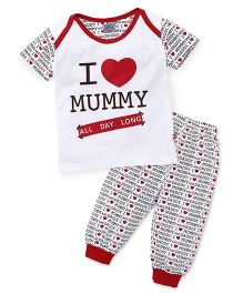Mini Taurus Half Sleeves Printed T-Shirt And Bottoms Set Mummy Print - Red White