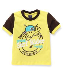 Taeko Half Sleeves T-Shirt Surf Rider Print - Yellow Brown