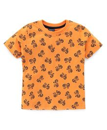Taeko Half Sleeves T-Shirt Bicycle Print - Orange