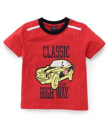 Taeko Half Sleeves T-Shirt Classic Highway Print - Red