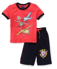 Taeko Half Sleeves T-Shirt & Shorts Set Planes Print - Red Blue