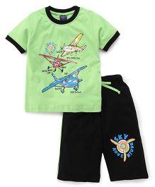 Taeko Half Sleeves Printed T-Shirt & Shorts - Green Black
