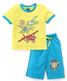 Taeko Half Sleeves Printed T-Shirt & Shorts - Yellow Blue