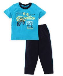 Taeko Half Sleeves Printed T-Shirt & Bottoms Set - Navy Blue