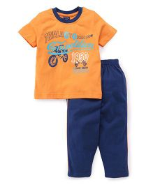 Taeko Half Sleeves T-Shirt And Track Pants Set Competetion Print - Orange Blue